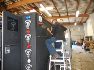 Ladders, fork lifts, and longs legs help us out on this install