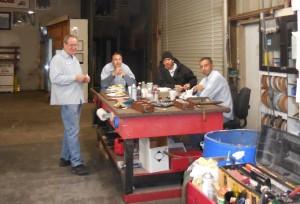 Guys enjoying lunch